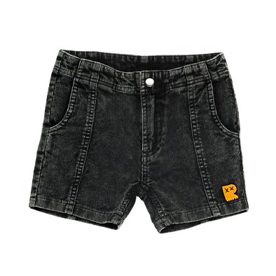 Black Wash Corduroy Shorts by Rock Your Kid