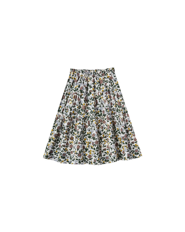 Enchanted Garden Tiered Midi Skirt by Rylee & Cru
