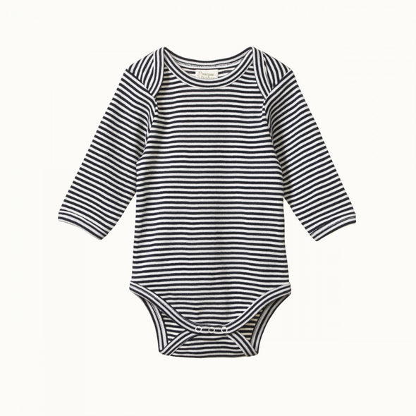 Cotton Long Sleeve Bodysuit by Nature Baby - Navy Stripe