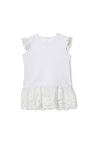 White Broderie Frill Tee by Milky
