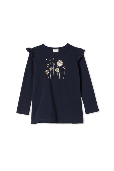 Floral Foil Baby Tee by Milky - French Navy