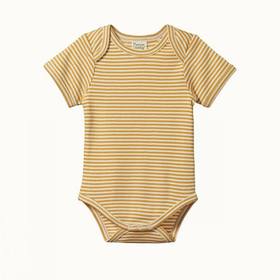 Short Sleeve Bodysuit by Nature Baby - Honey Stripe