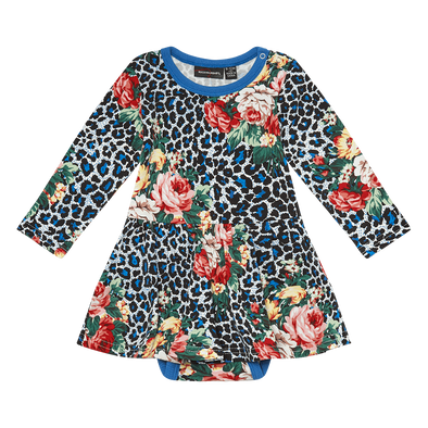 Blue Leopard Floral Baby Waisted Dress by Rock Your Kid