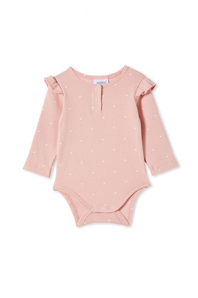 Misty Rose Rib Bubbysuit by Milky