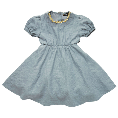 Grey Butterfly Wing Short Sleeve Dress by Rock Your Kid