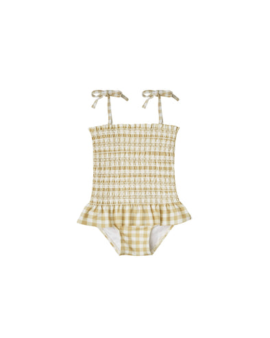 Baby Smocked Onepiece - Butter Gigham by Rylee & Cru