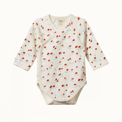 Long Sleeve Kimono Bodysuit by Nature Baby - Mushroom Valley
