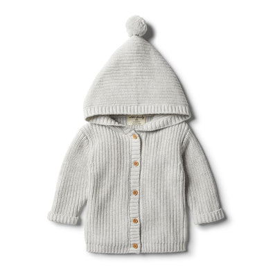 Cloud Grey Rib Knitted Jacket by Wilson & Frenchy