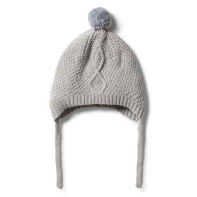Knitted Cable Bonnet - Glacier Grey Fleck by Wilson & Frenchy
