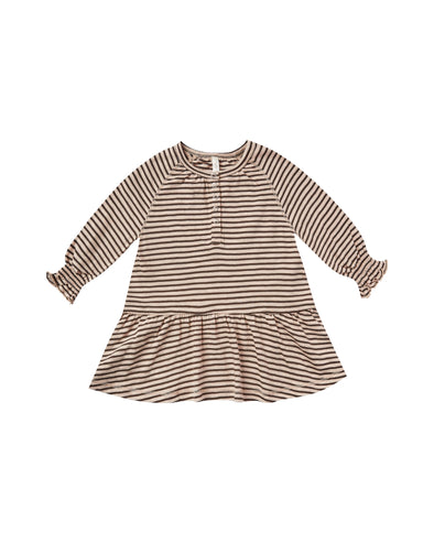 Oat and Black Stripe Swing Dress by Rylee & Cru