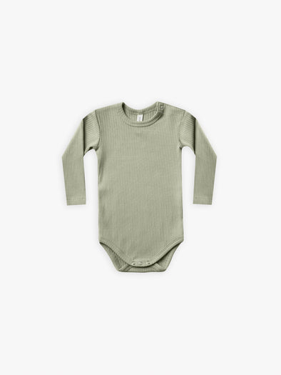 Ribbed Long Sleeve Onesie by Quincy Mae - Moss