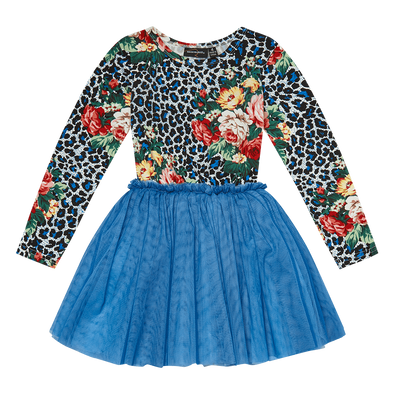 Blue Leopard Floral Circus Dress by Rock Your Kid