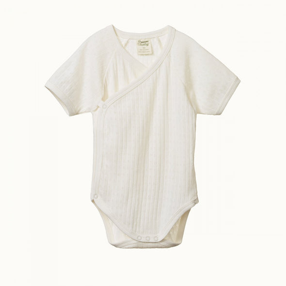 Short Sleeve Kimono Bodysuit Pointelle by Nature Baby - Natural