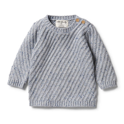 Knitted Jacquard Jumper - Navy Peony Fleck by Wilson & Frenchy