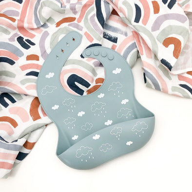 Silicone Catch Bib - Blue Clouds