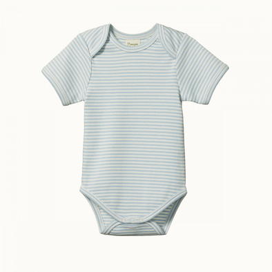 Short Sleeve Bodysuit by Nature Baby - Pond Stripe