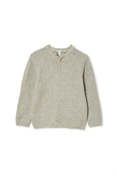 Grey Fleck Knit Henley by Milky