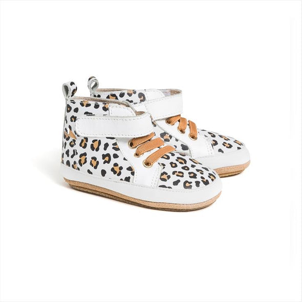 Hi Top White Leopard by Pretty Brave