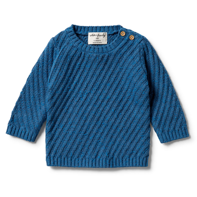 Knitted Jacquard Jumper - Denim Fleck by Wilson & Frenchy
