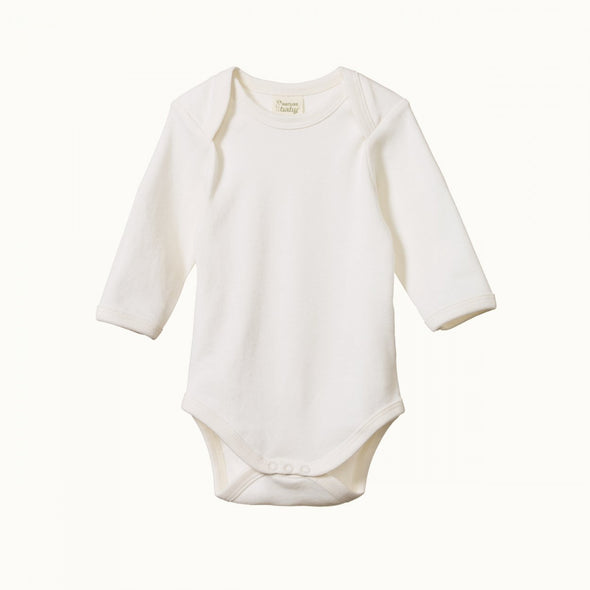 Cotton Long Sleeve Bodysuit by Nature Baby - Natural