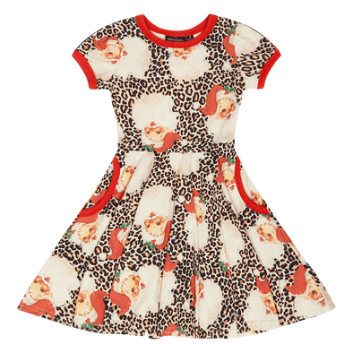 Leopard Santa Waisted Dress by Rock Your Kid