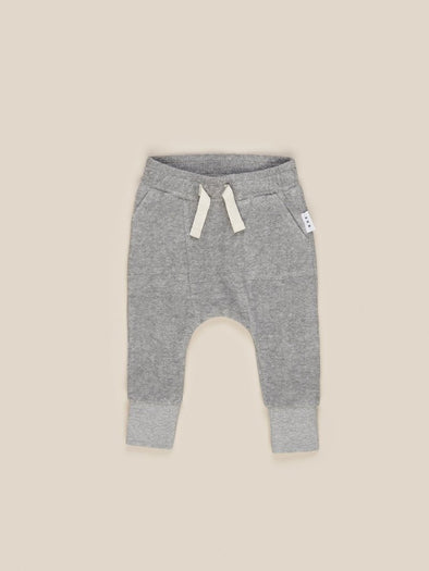Grey Pocket Drop Crotch Pant by Hux Baby