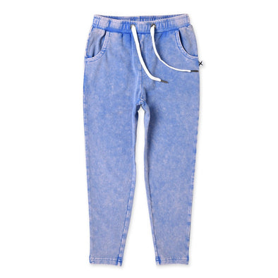 Indigo Wash Tapered Trackies by Minti