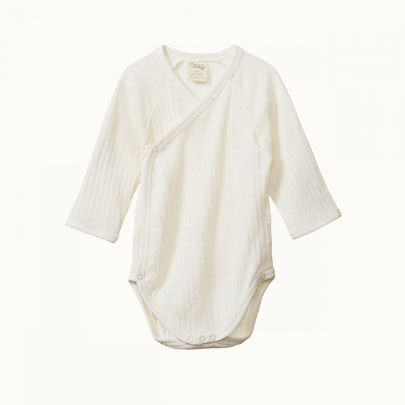 Long Sleeve Kimono Pointelle Bodysuit by Nature Baby - Natural