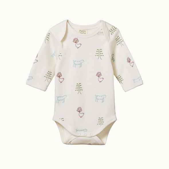 Cotton Long Sleeve Bodysuit by Nature Baby - Nature Baby Print