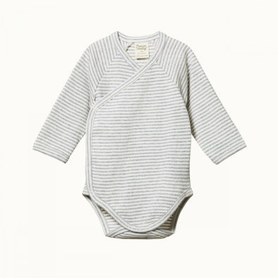 Long Sleeve Kimono Bodysuit by Nature Baby - Grey Marl Stripe