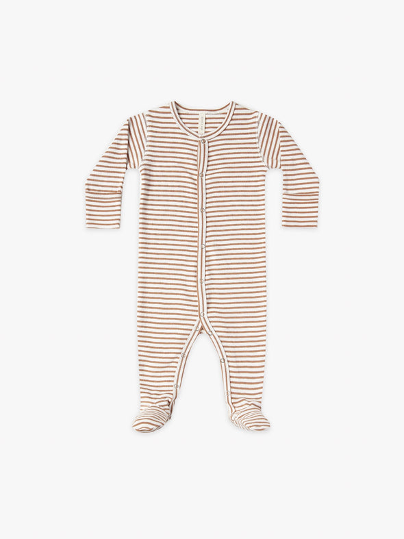 Full Snap Footie by Quincy Mae - Rust Stripe