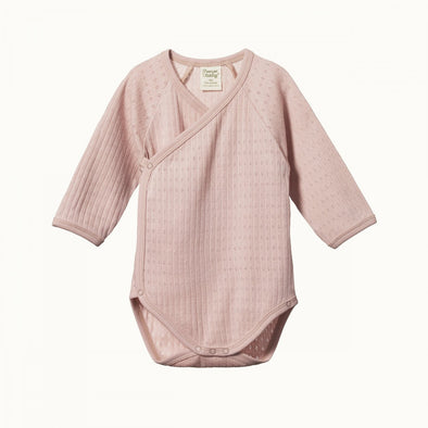 Long Sleeve Kimono Pointelle Bodysuit by Nature Baby - Rose Bud
