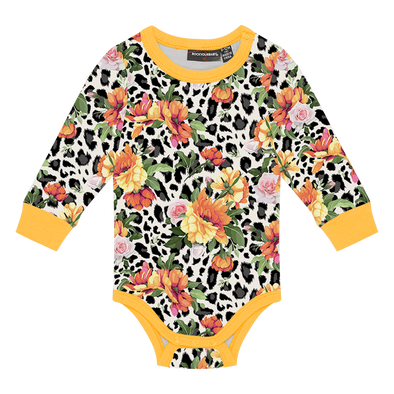 Snow Leopard Floral Bodysuit by Rock Your Baby