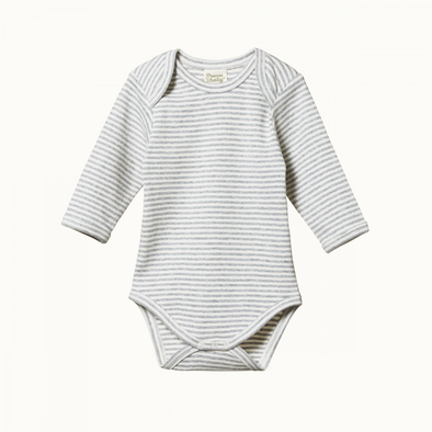 Cotton Long Sleeve Bodysuit by Nature Baby - Grey Marl Stripe