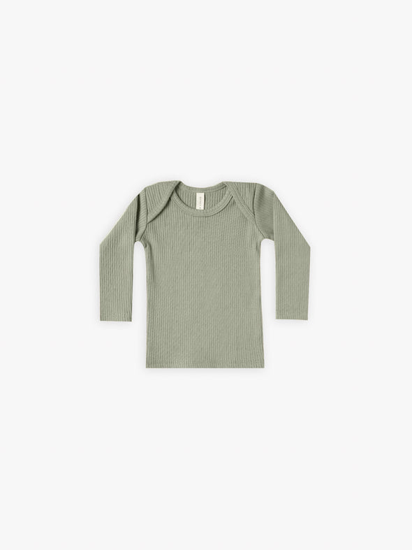 Ribbed Long Sleeve Lap Tee by Quincy Mae - Moss