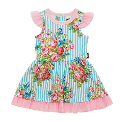 Blue Stripe Floral Baby Short Sleeve Dress by Rock Your Baby