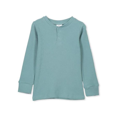 Rib Henley Sea Pine Green Tee by Milky