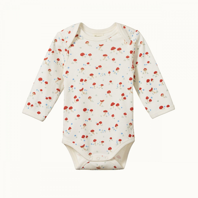 Cotton Long Sleeve Bodysuit by Nature Baby - Mushroom Valley