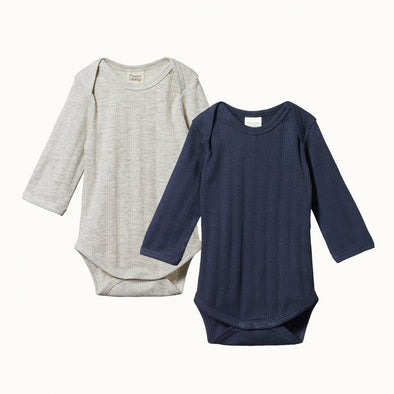 2 Pack Derby Long Sleeve Bodysuits by Nature Baby - Navy/Light Grey Marl