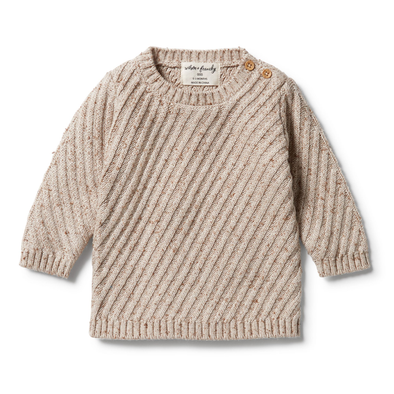 Knitted Jacquard Jumper - Oatmeal Fleck by Wilson & Frenchy