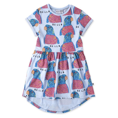 Hello Parrots Dress by Minti - Cornflower Marle