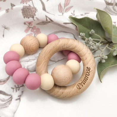 SINGLE RATTLE Silicone and Beech Wood Teether by One Chew Three - Dusky Rose with Cream