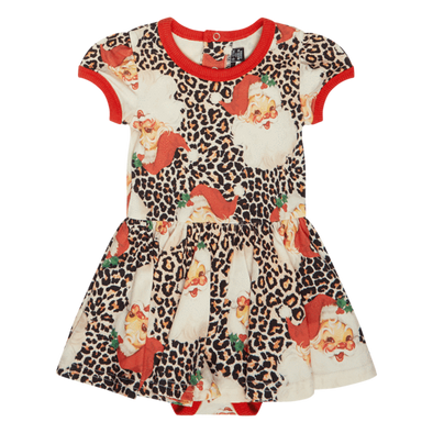 Leopard Santa Baby Waisted Dress by Rock Your Baby
