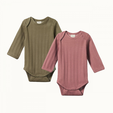 2 Pack Derby Long Sleeve Bodysuits by Nature Baby - Woodland Rose/Cypress