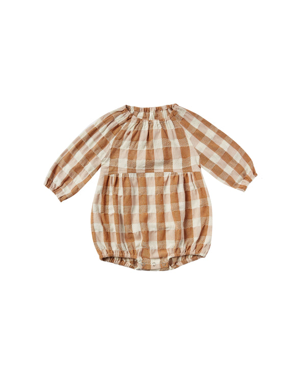 Cinnamon Check Bubble Romper by Rylee & Cru