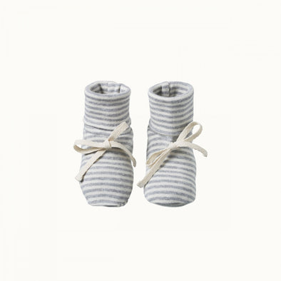 Cotton Booties by Nature Baby - Grey Marl Stripe