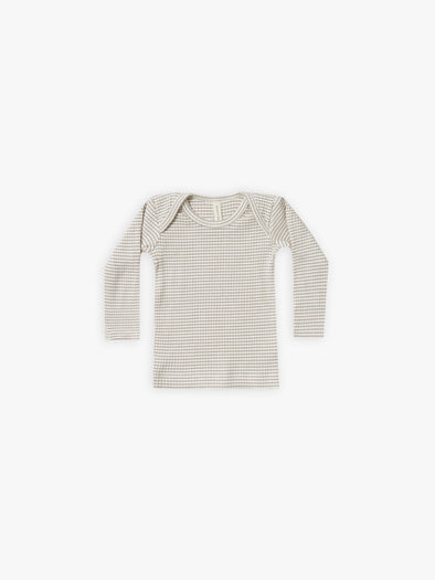 Ribbed Long Sleeve Lap Tee by Quincy Mae - Fog Stripe