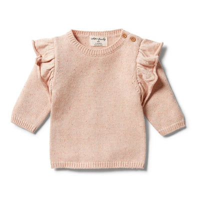 Knitted Ruffle Jumper - Flamingo Oatmeal Fleck by Wilson & Frenchy