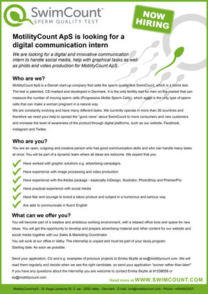 MotilityCount ApS is looking for a Digital Communication Intern