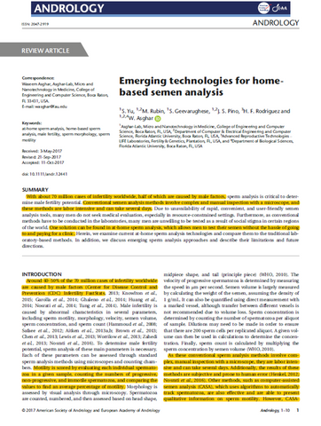 Emerging technologies for homebased semen analysis